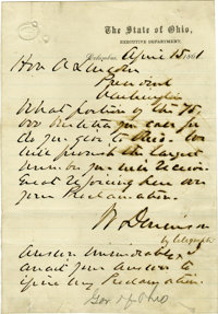1861 Autograph Letter From the Governor of Ohio to President Abraham Lincoln Regarding Militia Call Ups. One page, 5&quo...