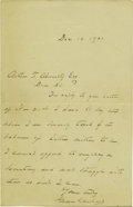 "Autographs:U.S. Presidents, 1901 Grover Cleveland Autograph Letter Signed ""Grover Cleveland"". One page, 4.5"" x 7"", December 12, 1901, in ink, to Art... (Total: 1 Item)"