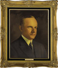 """Political:3D & Other Display (1896-present), Calvin Coolidge and Grace Coolidge Oil Portraits by Lawrence Williams. Each oil portrait is 16"""" x 20"""" and framed in gilt to ... (Total: 2 Item)"""