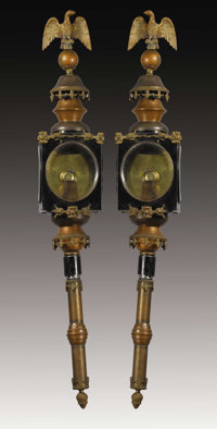 A Pair of English Tole, Copper and Brass Carriage Lights England 19th Century Tole painting, copper, bra