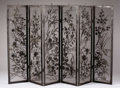 Furniture , A Japanese Painted Wrought Iron Six-Panel Fire Screen. . Circa 20th Century. Wrought iron. 37 1/2 inches in height, 60 inche...