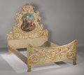 Sculpture, A Spanish Carved, Painted and Gilded Bed. . Late 19th - Early 20th Century. Giltwood, wood, paint. 75 inches (190.5 cm). ...