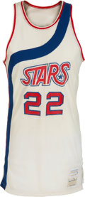 Basketball Collectibles:Uniforms, 1974-75 Moses Malone Game Worn Utah Stars (ABA) Rookie Jersey,MEARS A10....