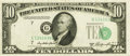 Error Notes:Shifted Third Printing, Fr. 2011-G* $10 1950A Federal Reserve Note. PCGS Extremely Fine40.. ...