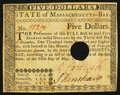 Colonial Notes:Massachusetts, Massachusetts May 5, 1780 $5 Extremely Fine-About New.. ...