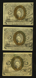 Fractional Currency:Second Issue, Fr. 1232 5¢ Second Issue Three Examples Fine-Very Fine.. ... (Total: 3 notes)