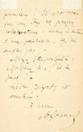 Autographs:Celebrities, Charles Gounod, French composer (1818-1893). Autograph LetterSigned. Dated March 23, 1881. ...