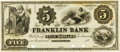 Obsoletes By State:Illinois, Greenville, IL - Franklin Bank $5 18__ IL-345 G4 SENC. PCGS Very Choice New 64 Apparent.. ...