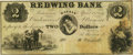 Obsoletes By State:Kansas, Lawrence, KS - Redwing Bank-pay at my Office 25 Market St., Boston $2 April 18, 1857 KS-45 G4a Whitfield-242. Remainder. PCGS ...