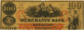 Obsoletes By State:Louisiana, New Orleans, LA - Merchants' Bank of New Orleans (2nd) $100 May 27, 1862 LA-95 G32a SENC. PCGS Very Fine 20 Apparent.. ...