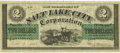 Obsoletes By State:Utah, G. S. L. City, U.T. - Salt Lake City Corporation $2 June 9, 1868 Rust 113 Nyholm 125. PCGS Extremely Fine 40 PPQ.. ...