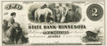 Obsoletes By State:Minnesota, Austin, MN - State Bank of Minnesota (1st) $2 October 5, 1858 MN-10G4 Hewitt B040-2a. Proof. PCGS Superb Gem New 67PPQ.. ...