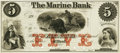 Obsoletes By State:Minnesota, St. Paul, MN - Marine Bank $5 18__ MN-141 G8a UNL Hewitt B660-D5b.Proof. PCGS Choice About New 58.. ...