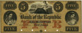 Obsoletes By State:New York, New York, NY - Bank of the Republic $5 18__ NY-1890 S5a. Tint Essay on Bond Paper. PCGS Gem New 66PPQ.. ...