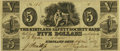 Obsoletes By State:Ohio, Kirtland, OH - Kirtland Safety Society Bank $5 Mar. 4, 1837 OH-245G8 Wolka 1424-10 Rust 7. PCGS About New 53PPQ.. ...