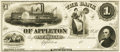 Obsoletes By State:Wisconsin, Appleton, WI - Bank of Appleton $1 18__ WI-10 G2. Proof. PCGS Superb Gem New 67PPQ.. ...