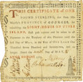 "Colonial Notes:Georgia, Province of Georgia 1769 Lighthouse Certificate 1 Pound Printed ""9""in Date Fr. GA-47b. PCGS Very Fine 30 Apparent.. ..."