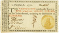 Colonial Notes:Georgia, Georgia 1776 Orange or Green Seal $1 Green Seal Fr. GA-71d. PCGSChoice About New 55PPQ. . ...