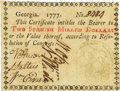 Colonial Notes:Georgia, Georgia 1777 No Resolution Date $2 Fr. GA-84. PCGS Choice About New55PPQ.. ...