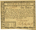 Colonial Notes:Maryland, State of Maryland June 28, 1780 $1 Fr. MD-115. PCGS Very Choice New64PPQ.. ...