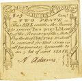 Colonial Notes:Massachusetts, Massachusetts October 18, 1776 2 Pence Fr. MA-222. PCGS ChoiceAbout New 58.. ...
