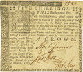 Colonial Notes:Pennsylvania, Pennsylvania March 10, 1769 5 Shillings Fr. PA-142. PCGS About New 53 Apparent.. ...