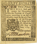 Colonial Notes:Pennsylvania, Pennsylvania June 18, 1764 3 Pence Fr. PA-115. PCGS Choice About New 58PPQ.. ...