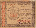 Colonial Notes:Continental Congress Issues, Continental Currency January 14, 1779 $40 Fr. CC-95. PCGS Gem New65PPQ.. ...