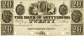 Obsoletes By State:Pennsylvania, Gettysburg, PA - Bank of Gettysburg $20 18__ PA-155 G60 Hoober 136-10. PCGS Choice About New 58.. ...
