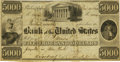 Obsoletes By State:Pennsylvania, Philadelphia, PA - Bank of the United States (the Third) $5000 Post Note December 15, 1840 US-3 G106 Hoober 305-166. PCGS Abo...