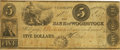 Obsoletes By State:Vermont, Woodstock, VT -Bank of Woodstock $5 May 1, 1843 VT-285 G8 SENCCoulter UNL. PCGS Very Fine 20 Apparent.. ...