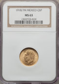 Mexico, Mexico: Republic gold 5 Pesos 1918/7-M MS63 NGC,...