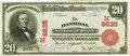 National Bank Notes:Missouri, Hannibal, MO - $20 1902 Red Seal Fr. 639 The Hannibal NB Ch. #(M)6635 PCGS Extremely Fine 40PPQ.. ...