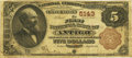 National Bank Notes:Wisconsin, Antigo, WI - $5 1882 Brown Back Fr. 477 The First NB Ch. # 5143. ...