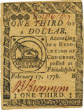 Colonial Notes:Continental Congress Issues, Continental Currency February 17, 1776 $1/3 Fr. CC-20. PCGS ChoiceAbout New 55PPQ.. ...
