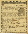 Colonial Notes:Pennsylvania, Pennsylvania March 10, 1769 2 Shillings Fr. PA-140. PCGS VeryChoice New 64 Apparent.. ...