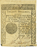 Colonial Notes:Vermont, State of Vermont February 1781 20 Shillings Fr. VT-6. PCGSExtremely Fine 40 Apparent.. ...