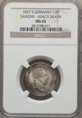German States:Saxony, German States: Saxony. Friedrich August I 1/6 Taler 1827-S MS65 NGC,...