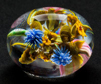 PAUL STANKARD FLAMEWORKED CLEAR AND COLORED GLASS BOUQUET PAPERWEIGHT Circa 1997