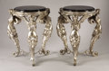 Furniture, A Pair of Silver Over Bronze Tables with Black Marble Tops. . Silver over bronze, marble. The tables are 31 inches in height... (Total: 2 Items)