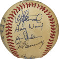 Autographs:Baseballs, 1984 Texas Rangers Team Signed Baseball. The 1984 Texas Rangerteam, managed by Doug Rader finished in last place in their ...