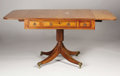 Furniture, A 19th Century English Inlaid Mahogany Drop-Leaf Sofa Table on Pedestal. Unknown maker, English. Mid to late 19th century...