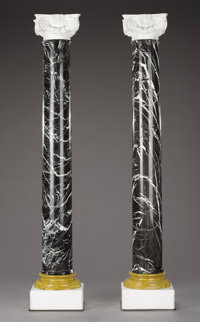 A PAIR OF ITALIAN MARBLE COLUMNS Early 19th Century 76 inches (193.0 cm) high