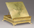 Decorative Arts, French:Other , A FRENCH BRASS BOOKSTAND. 19th Century. 4 x 11 x 12 inches (10.2 x27.9 x 30.5 cm). ...