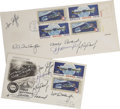 Autographs:Celebrities, Two Sets of Apollo-Soyuz Test Project Astronaut and CosmonautSignatures on 1975 Apollo-Soyuz First Day Covers,...