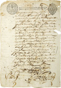 Autographs:Non-American, Document Referring to Ponce de Leon,...