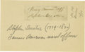 "Autographs:Military Figures, Early U.S. Naval Hero Stephen Decatur Clipped Signature, ""NavyComm'ry Off Stephen Decatur,"" 2.5"" x 1"". Toned paper, aff..."