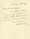 Autographs:U.S. Presidents, Herbert Hoover Autograph Letter Signed,...