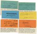 "Autographs:Celebrities, Collection of Autograph Musical Quotes Signed consisting of sixitems, all in ink on colored cardstock, approximately 5.5"" x...(Total: 6 Item)"
