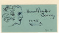 "Autographs:Artists, Howard Chandler Christy Original Ink Sketch Signed in full on a blue card, 6"" x 3"", 1948. An American artist and illustrator... (Total: 1 Item)"